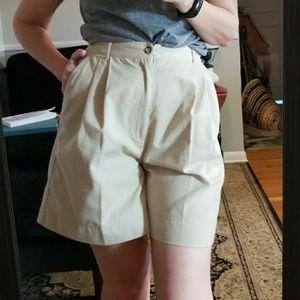 Vintage Cream Khaki High Rise Mom Shorts